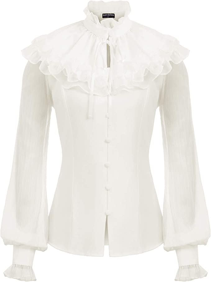 Victorian Blouses, Tops, Shirts, Sweaters SCARLET DARKNESS Womens Victorian Sheer Sleeve Lace Up Back Ruffled Blouse +Cape $29.99 AT vintagedancer.com
