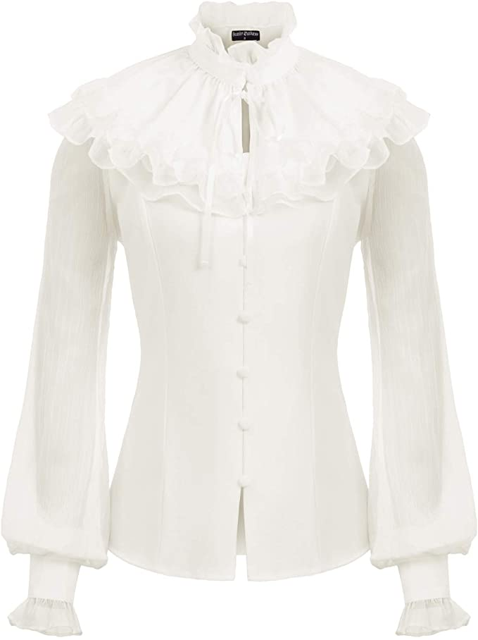 Edwardian Blouses |  Lace Blouses & Sweaters SCARLET DARKNESS Womens Victorian Sheer Sleeve Lace Up Back Ruffled Blouse +Cape $29.99 AT vintagedancer.com