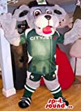 Grey Dog Pet Animal Mascot SpotSound US Dressed In Sports Soccer Gear