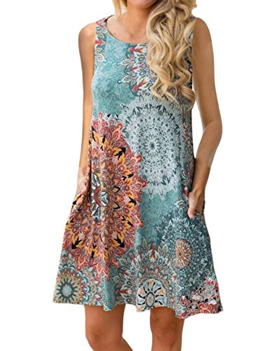 Women's Summer Sleeveless Damask Tunic Top Casual Floral