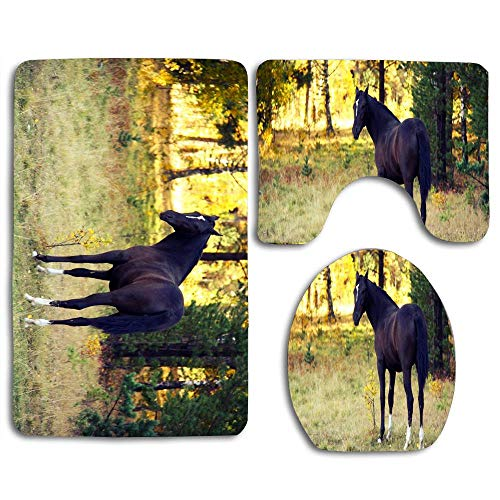 Autumn Forests Beautiful Black Horse Home 3 Piece Bathroom Rug Set Bath Rug, Contour Mat, Lid Cover Non-Slip with Rubber Backing Mat for Bath, Kitchen,Garden