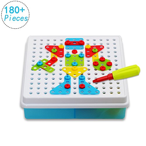 HANMUN DIY Mosaic Puzzles Play Toys Set with Screw Nuts Tools Creative and Educational Gift for Kids by (180+pcs)