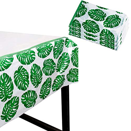 Tropical Party Tablecloth - 3-Pack Disposable Plastic Rectangular Table Covers - Palm Leaves Hawaiian Themed Party Supplies for Kids Birthday, Luau Decorations, Green and White, 54 x 108 Inches]()