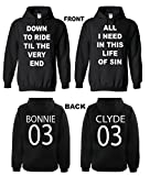 Bonnie & Clyde Valentine's Day Gift Couple Matching Black Hoodie hooded sweatshirt