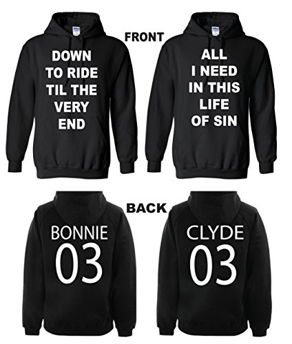 Bonnie & Clyde Valentine's Day Gift Couple Matching Black Hoodie hooded sweatshirt by DAVIDMONIK