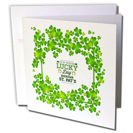 3dRose Uta Naumann Sayings and Typography - Irish St Patrick Motivational and Clover Frame - Its Your Lucky Day - 12 Greeting Cards with envelopes (gc_275297_2) -