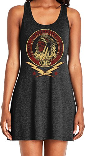 Amdesco Ladies America's Original Motorcycle Indian Skull Casual Racerback Tank Dress, Black 2XL