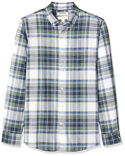 - Goodthreads Men's Slim-Fit Long-Sleeve Lightweight Madras Plaid Shirt, Green White Large Plaid,  Medium