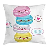 Lunarable Kawaii Throw Pillow Cushion Cover, Sweet Macaroons Stacked Colorful French Cookies Lovable Funny Cartoon Characters, Decorative Square Accent Pillow Case, 16 X 16 Inches, Multicolor