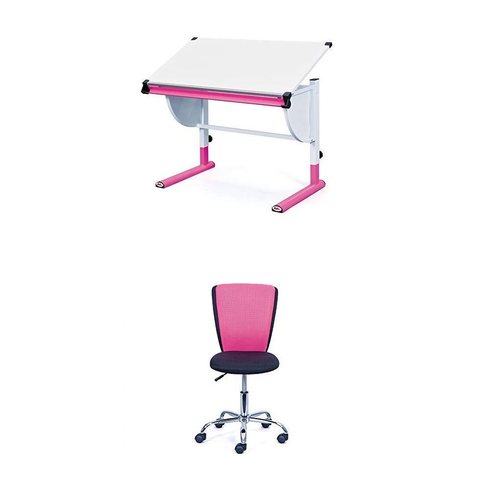 Inter Link Schülerschreibtisch MDF Weiss Pink mit Kinderdrehstuhl schwarz pink