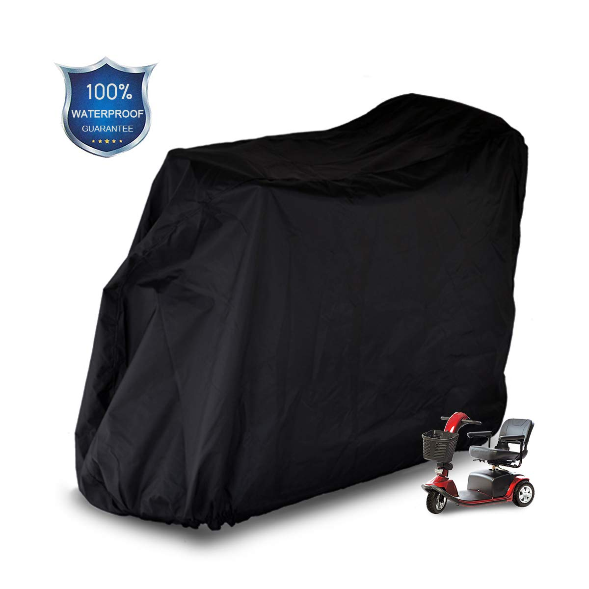 Mobility Scooter Storage Cover, 300D Oxford Fabric Scooter Weather Cover with 2 Buckles - Heavy Duty, Weatherproof, Durable with Free Storage Bag By Valchoose (Black) by Valchoose