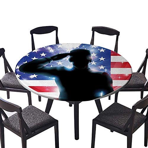 Simple Modern Round Table Cloth Funny French Bulldog with Sunglasses in American Costume Hiding Graphic Art for Daily use, Wedding, Restaurant 31.5