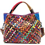Vegasking Women's Casual Hand Knit Top Handle Handbag Head Layer Cowhide Tote Single Shoulder Bag (Style2-Colourful)