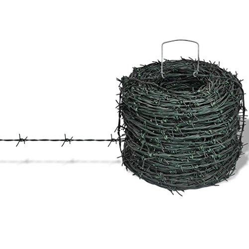 (Retrome Barbed Wire Entanglement Wire,Galvanized Barbed Wire, Wire Roll Livestock Field Fence100 m Green for Residential Garden or Yard)