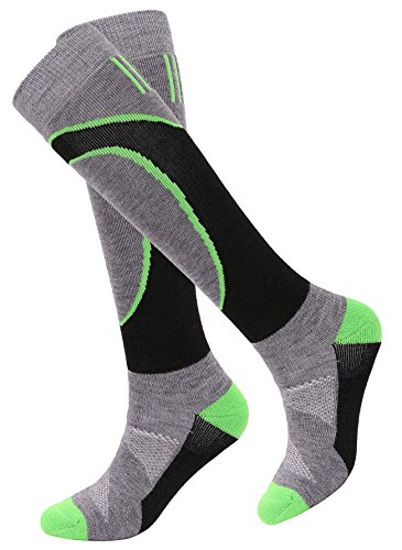 Men's Winter Merino Wool Ski Socks w/ Moisture-Wicking Full Terry Interior, S/M