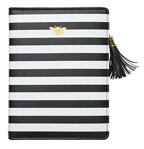 Zipper Leatherette (C.R. Gibson White and Black Striped Zipper Bee Leatherette Journal , 352 pgs.)