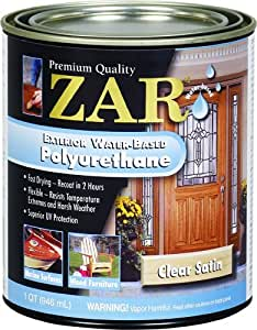 Zar 32712 exterior water based polyurethane satin household varnishes for Zar exterior water based polyurethane