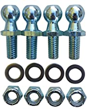 """(4 Pack) 13mm Ball Studs With Hardware - 5/16-18 Thread x 5/8"""" Long Shank - Gas Lift Support Strut Fitting"""