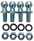 "(4 Pack) 13mm Ball Studs With Hardware - 5/16-18 Thread x 5/8"" Long Shank - Gas Lift Support Strut Fitting"