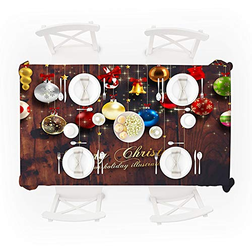 Digood Christmas Tablecloth Xmas Theme Water Resistant Wrinkle Free Polyester Table Cover Kitchen Party Holiday Dinner Oblong Decor Table Cloths (140x180cm)
