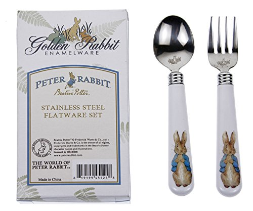 (Golden Rabbit Child Fork & Spoon Set, Peter Rabbit)