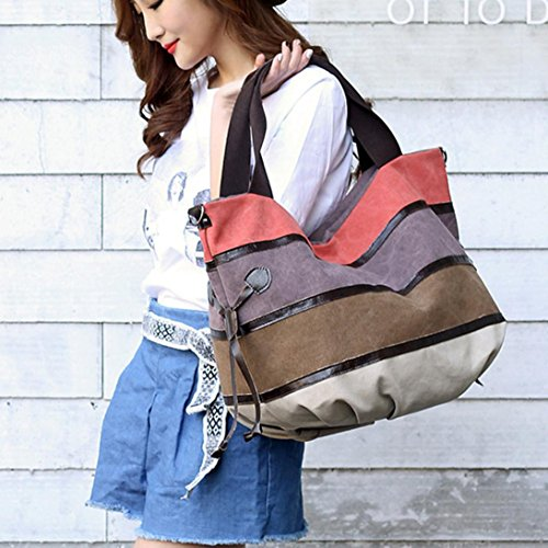 Split Totes Handbag Stripe Bag Leather Joint Capacity Shoulder Large Women Crossbody Bag Orange Handbag Fashion Rakkiss wq4SYx8