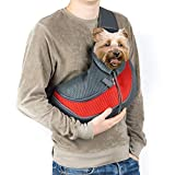 Pet Sling Carrier, Coopts Small Dog Cat Carrier Sling Hands-Free Pet Puppy Outdoor Travel Bag Tote Reversible Comfortable Machine Washable Adjustable Pouch Shoulder Carry for Pets Below 13lb, Red