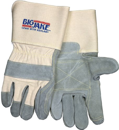 Big Jake Leather (Memphis glove 1712M Big Jake Double Leather Palm Index Finger and Thumb, Sewn Kevlar, w/4-1/2