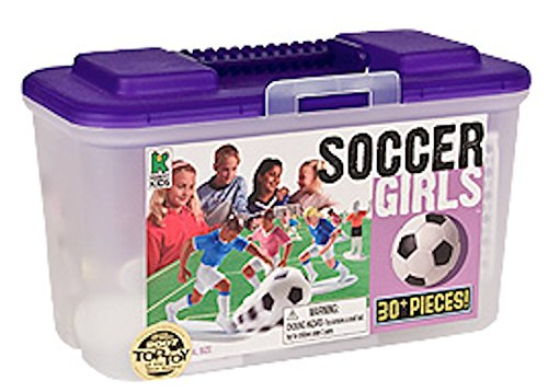 Kaskey Kids Soccer Girls - Inspires Imagination with Endless Hours of Creative, Open-Ended Play - Includes 2 Full Teams and Accessories. Fun Way to Teach The Rules of The Game. 25 Pieces. Ages 3