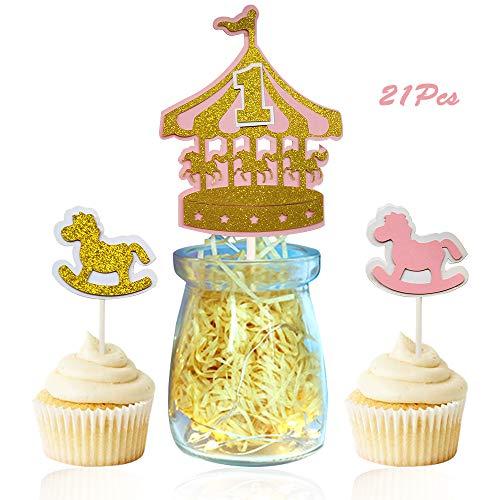 Sunsor 21Pcs Glitter Carousel Horse Cake Toppers Cupcake Picks for Baby Girl 1st ()