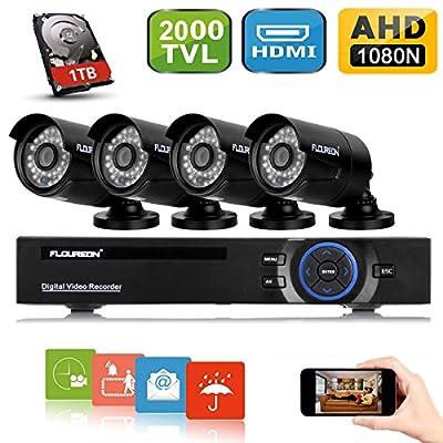 FLOUREON 8CH Security Surveillance DVR System + 4 Pack CCTV Camera from floureon