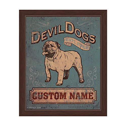 Devil Dogs English Bulldog Sign Blue Distressed  Wall Art Print
