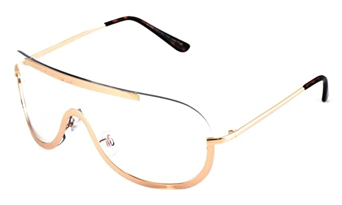 a55a6c88c7c8 Image Unavailable. Image not available for. Color  OVERSIZED VINTAGE Retro  Huge Big SHIELD Style Clear Lens EYE GLASSES Gold Frame