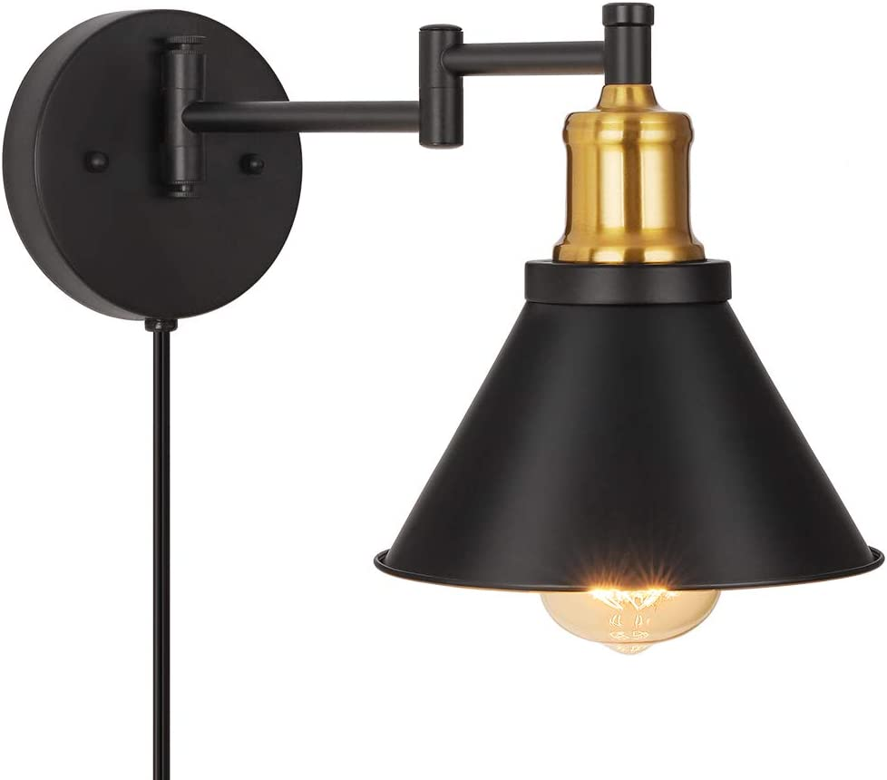 Swing Arm Wall Lamp Industrial Wall Sconce Plug In Wall Lights Fixtures For Bedroom Bedside Reading Light With Switch Brass Black Amazon Com