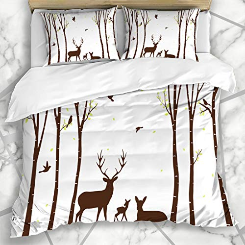 Ahawoso Duvet Cover Sets King 90x104 Tree Autumn Birch Deer Birds Woodland Trunk Scene Aspen Forest Wood Design Microfiber Bedding with 2 Pillow Shams