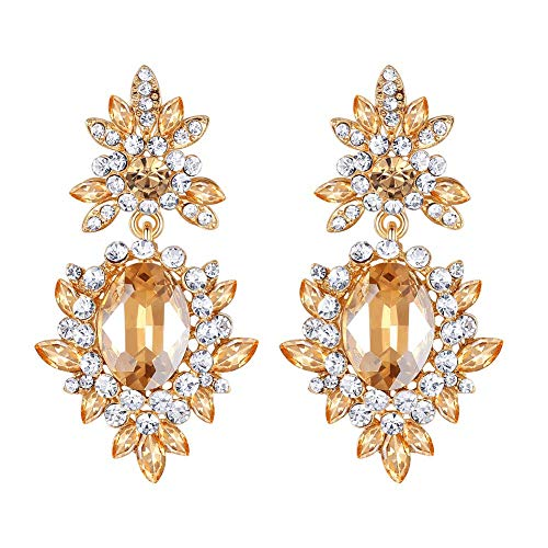 - mecresh Champagne Pageant Austrian Crystal Rhinestone Chandelier Dangle Earrings