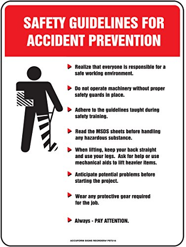 """Accuform PST216 Safety Awareness Poster,""""Safety GUIDELINES for Accident Prevention"""", 24"""" Length x 18"""" Width, Laminated Flexible Plastic 