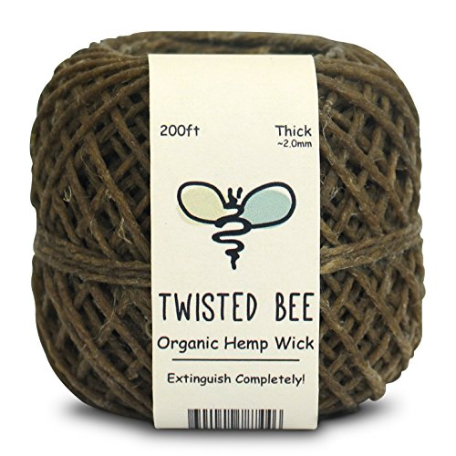 Twisted Bee Thick x 200ft, Organic Hemp Wick with Natural Beeswax...