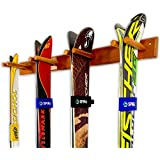 StoreYourBoard Timber Ski Wall Rack - 4 Pairs of Skis Storage - Wood Home & Garage Mount System