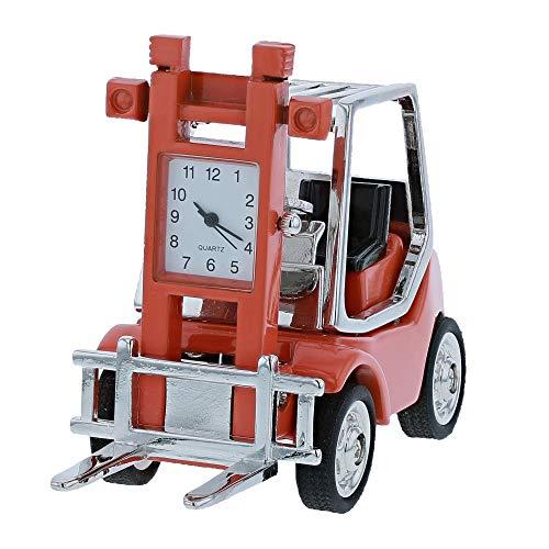 (Miniature Orange Forklift Truck Novelty Quartz Movement Desktop Collectors Clock TM3)