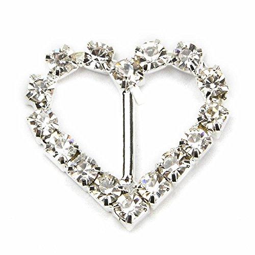 10mm Slider Letter - GOOTRADES Rhinestone Buckle Slider for Invitation Wedding Letter (pack of 10) (Heart-shaped)