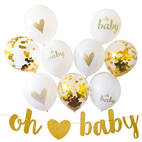 Gender Reveal Party Decorations for Gender Neutral Baby Shower, 13 Piece Set Includes Oh Baby Banner, Balloons and Baby Shower Planner for Memorable Event by RSLP