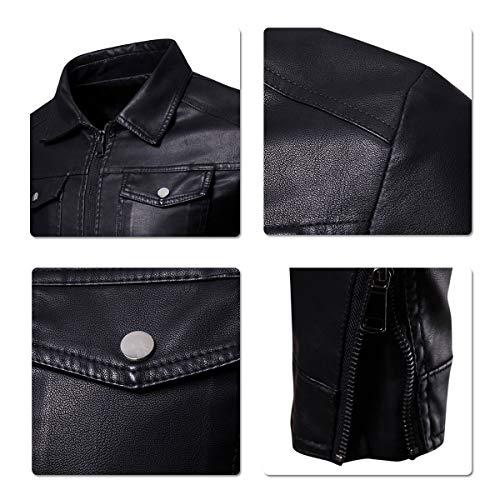 Biker Simili Motard Veste cuir Moto Blouson Noir Homme aInZqXXwF