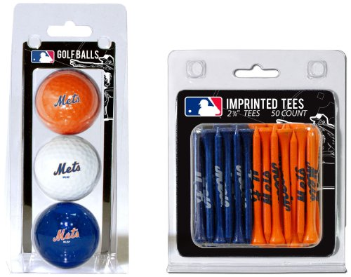 Team Golf MLB New York Mets Logo Imprinted Golf Balls (3 Count) & 2-3/4