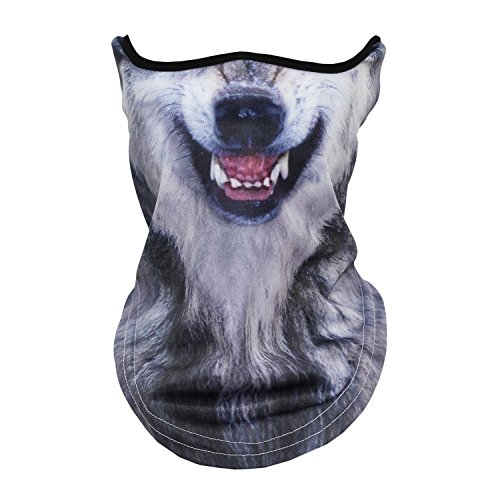JIUSY Animal 3D Prints Neck Gaiter Warmer Face Mask Windproof Dust UV Sun Protection Scarf Half Face Mask for Skiing Fishing Cycling Motorcycling Outdoor Halloween Party Wolf Coyotes (Print A Halloween Mask)