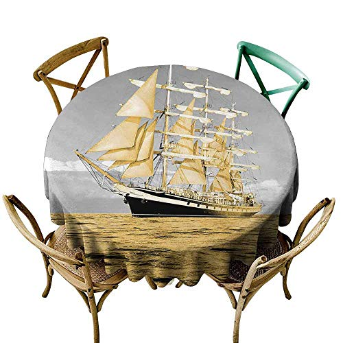 (SKDSArts Round Tablecloth Plaid Beautiful Seascape. Traditional Wooden Boats and The Fisherman's House. D60,Round Tablecloth)