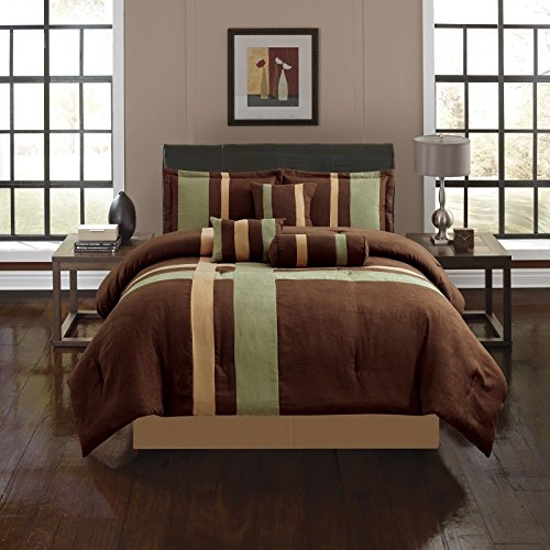Anissa Collection Luxurious 11-Piece Micro Suede Soft Comforter Set & Bed Sheets Limited-Time SALE!! (Green & Brown Stripe, Full) Pink And Brown Stripes