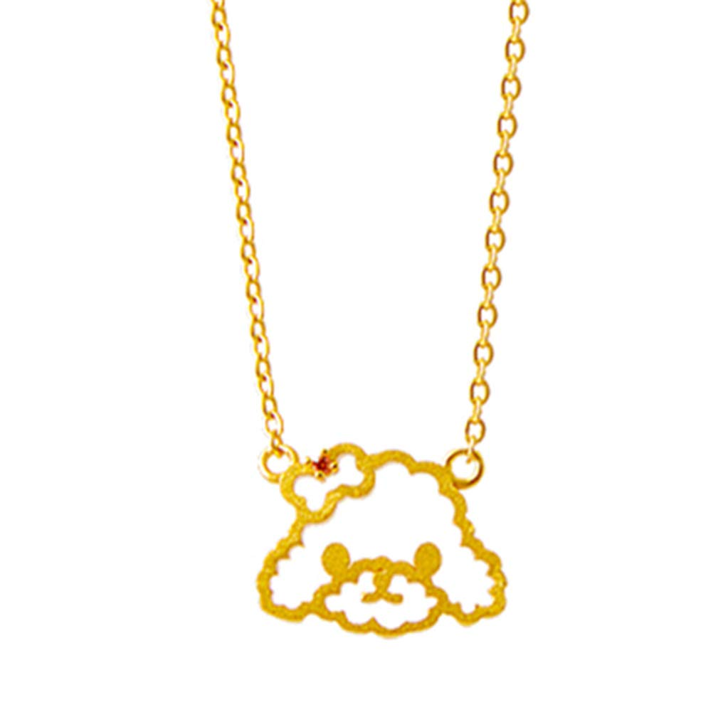 Onlyfo Abstract 925 Silver Filigree Dog Head with Bowknot Pendant Necklace with Jewelry Box,Short Dog Necklace for Women (Golden)
