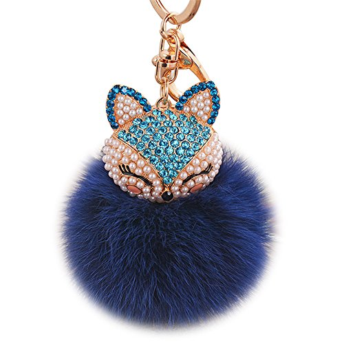 (Boseen Real Rabbit Fur Ball with Artificial Fox Head Inlay Pearl Rhinestone Key Chain for Womens Bag or Cellphone or Car Pendant (Navy)