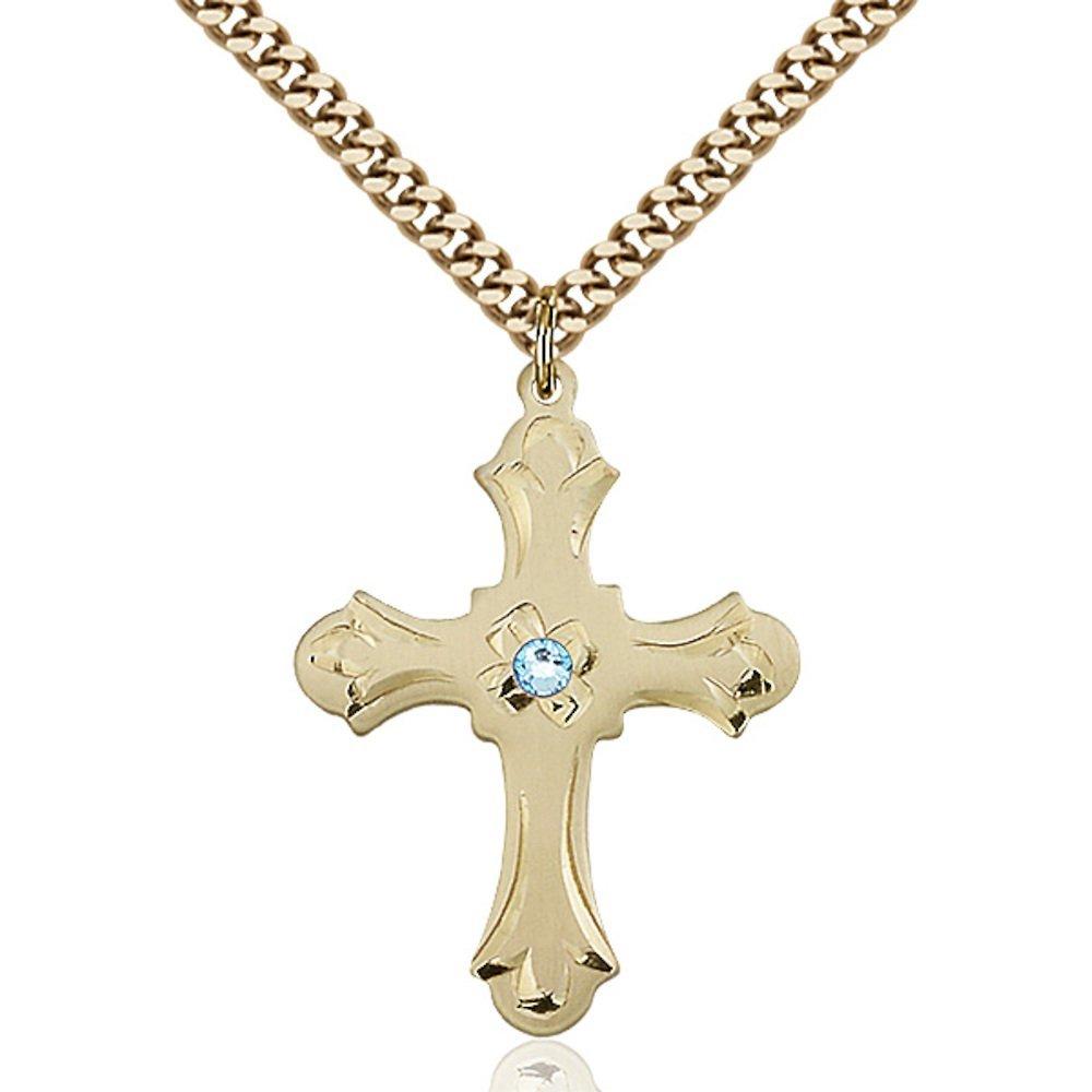 Bonyak Jewelry ゴールドフィルドクロスペンダント 3mm3月ブルースワロフスキークリスタル 1 1/4×7/8インチ 重厚なカーブチェーン付き   B00PMMHLY4